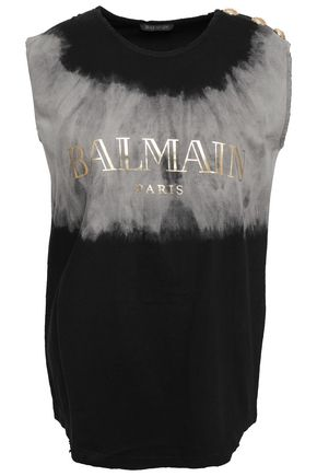 BALMAIN Distressed printed tie-dye cotton-jersey tank