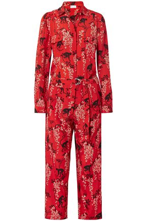 REDValentino Cropped printed silk-crepe jumpsuit