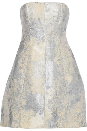 HALSTON HERITAGE Strapless metallic jacquard mini dress