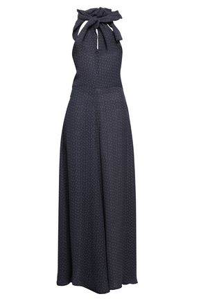 PAPER London Twist-front polka-dot crepe halterneck jumpsuit