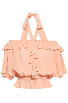 TEMPERLEY LONDON Eden ruffled silk-crepe halterneck blouse
