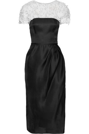 CAROLINA HERRERA Embellished chiffon-paneled gazar midi dress