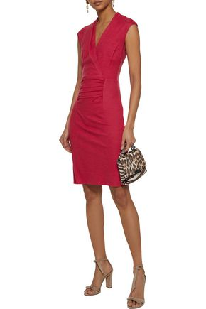 Halston Heritage Woman Ruched Wool-Jersey Dress Crimson