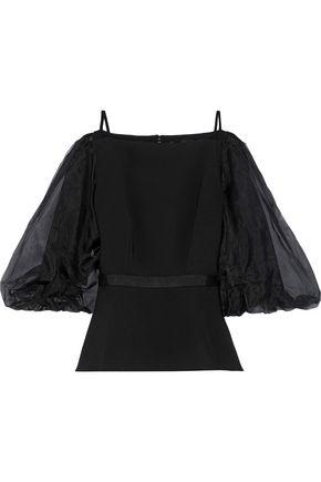 SALONI Jana organza-paneled cady blouse