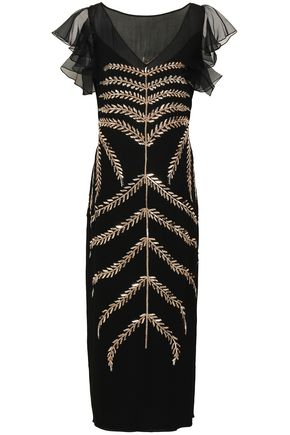 TEMPERLEY LONDON Ruffled embellished georgette and organza midi dress