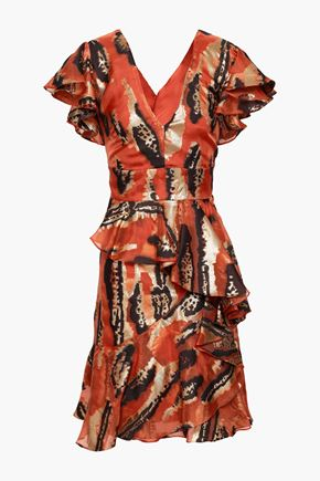 TEMPERLEY LONDON Ruffled metallic fil coupé silk-blend mini dress