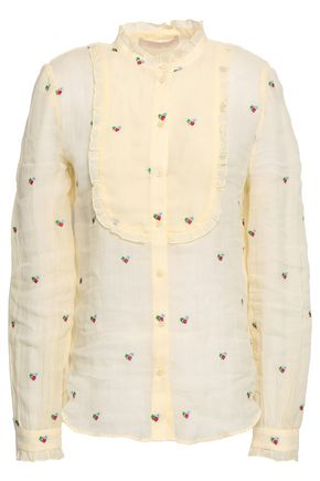 VANESSA BRUNO Embroidered ramie-gauze blouse