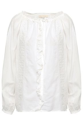 VANESSA BRUNO Broderie anglaise-trimmed cotton-blend blouse