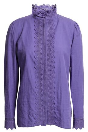 VANESSA BRUNO Embroider-trimmed cotton-blend blouse