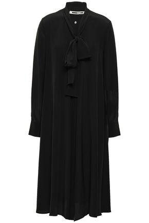 McQ Alexander McQueen Crystal-embellished pussy-bow silk crepe de chine shirt dress