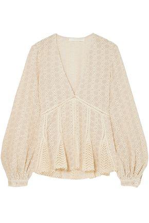 JONATHAN SIMKHAI Crocheted cotton-blend gauze top