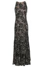 HALSTON HERITAGE Embellished metallic embroidered tulle gown