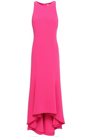 HALSTON HERITAGE Asymmetric fluted crepe gown