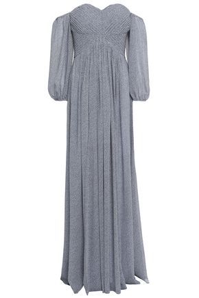 HALSTON HERITAGE Off-the-shoulder pintucked printed georgette gown