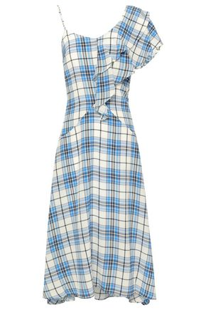 PAPER London Ruffled checked silk crepe de chine midi dress