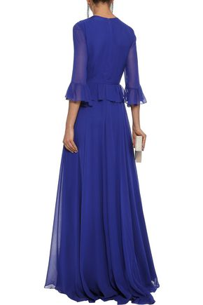 CAROLINA HERRERA Ruffle-trimmed sequin-paneled silk-chiffon gown