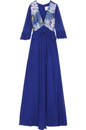 CAROLINA HERRERA Ruffle-trimmed sequin-paneled silk-chiffon gown