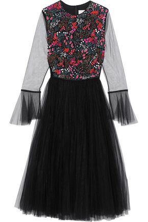 CAROLINA HERRERA Flared embellished tulle midi dress