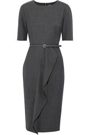 MAX MARA Alberta draped pinstriped wool-blend twill dress