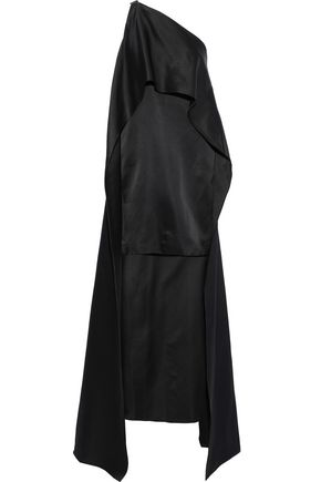 NARCISO RODRIGUEZ One-shoulder cape-effect silk duchesse-satin mini dress