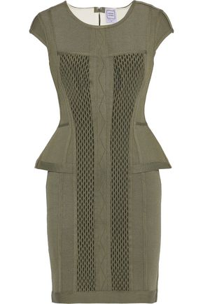 HERVÉ LÉGER Cutout mesh-paneled pointelle-knit peplum mini dress