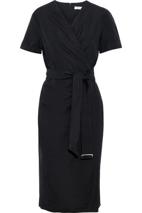 MAX MARA Dalmine buckle-detailed cotton-poplin wrap dress