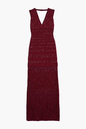 HERVÉ LÉGER Veronica jacquard-knit and lace gown