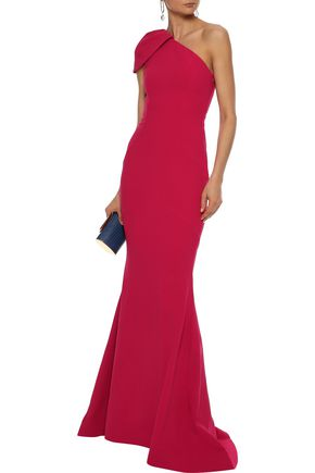 REBECCA VALLANCE Poppy one-shoulder fluted stretch-crepe gown
