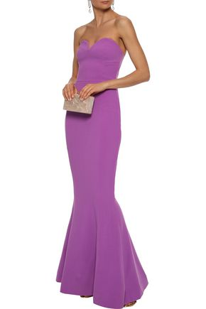 REBECCA VALLANCE Strapless stretch-crepe gown