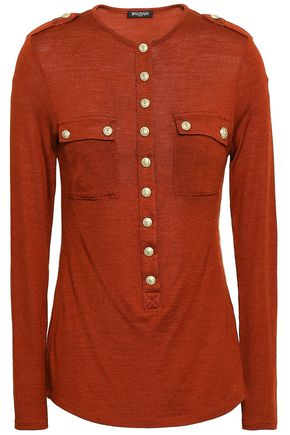 BALMAIN Button-embellished wool and silk-blend jersey top