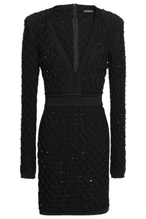 BALMAIN Bead-embellished smocked stretch-knit mini dress