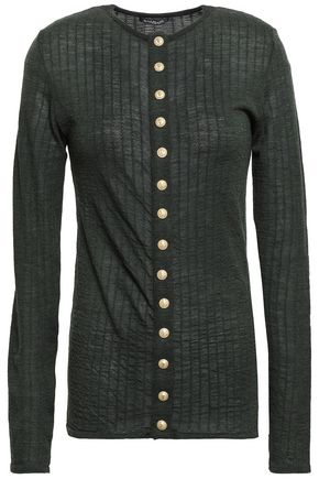 BALMAIN Button-embellished mélange ribbed wool top