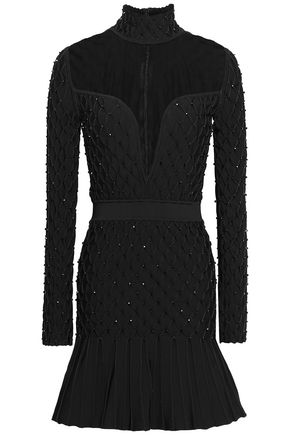 BALMAIN Tulle-paneled embellished smocked stretch-knit mini dress