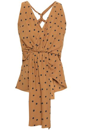 PAPER London Niagara wrap-effect cutout polka-dot crepe halterneck top