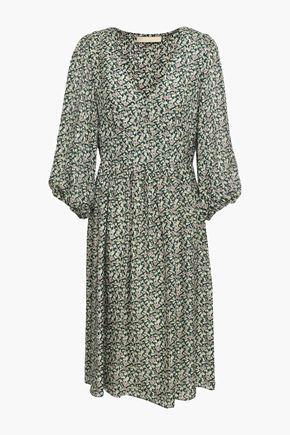 VANESSA BRUNO Gathered floral-print silk-seersucker dress