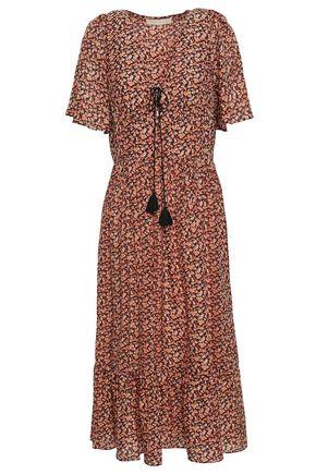 VANESSA BRUNO Tassel-trimmed printed silk-seersucker midi dress