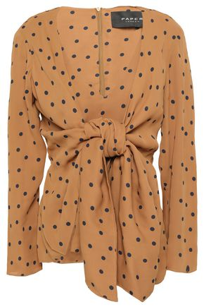 PAPER London Mini bow-detailed polka-dot crepe top