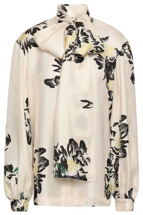 c3c7a7bbe4038 PAPER London Pussy-bow printed silk-twill blouse