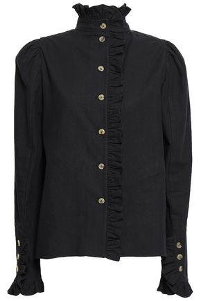 GOEN.J Ruffle-trimmed cotton-twill blouse