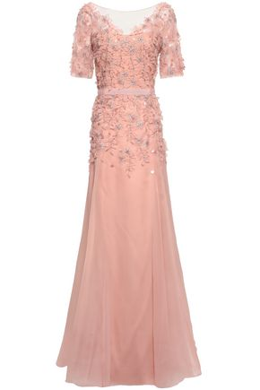 JENNY PACKHAM Flared embellished organza and tulle gown