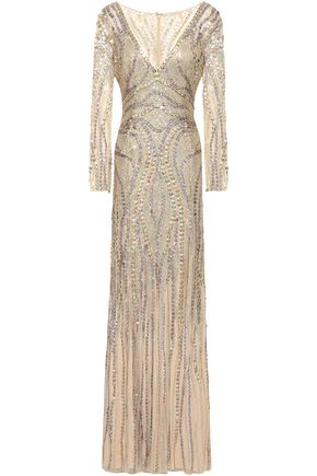 JENNY PACKHAM Embellished embroidered tulle gown