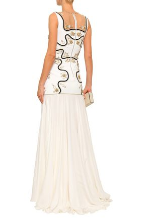 JENNY PACKHAM Embellished embroidered cady and chiffon gown
