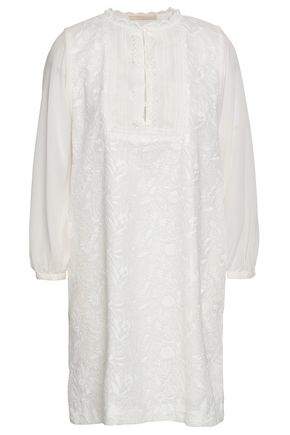 VANESSA BRUNO Paneled embroidered cotton and crepe de chine mini dress
