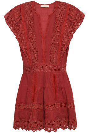 VANESSA BRUNO | Vanessa Bruno Crochet-Trimmed Broderie Anglaise Cotton, Ramie And Linen-Blend Mini Dress | Goxip