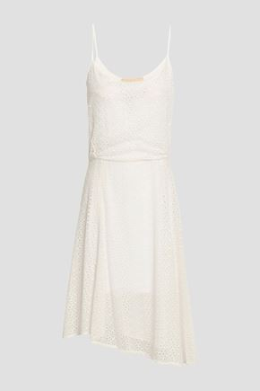 VANESSA BRUNO Asymmetric pleated broderie anglaise cotton dress