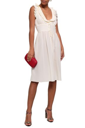 VANESSA BRUNO Gimmy lace-up ruffle-trimmed silk crepe de chine dress