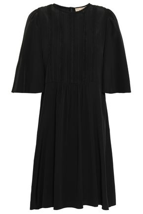 VANESSA BRUNO Lace-trimmed gathered silk crepe de chine mini dress