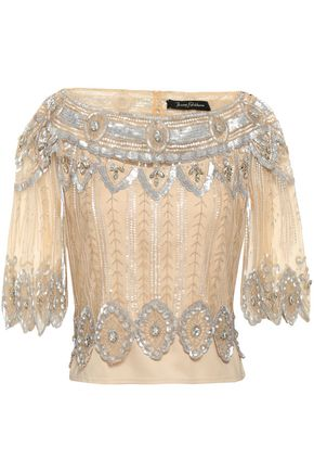 JENNY PACKHAM Embellished tulle top