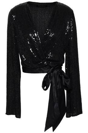 JENNY PACKHAM Satin-trimmed sequined silk-georgette wrap top