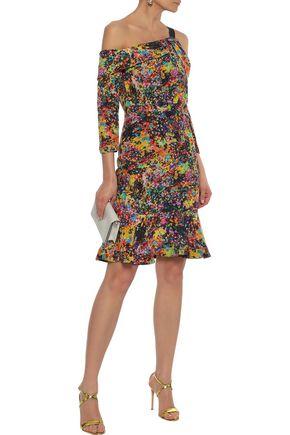 SALONI Tricia one-shoulder floral-print silk-crepe dress